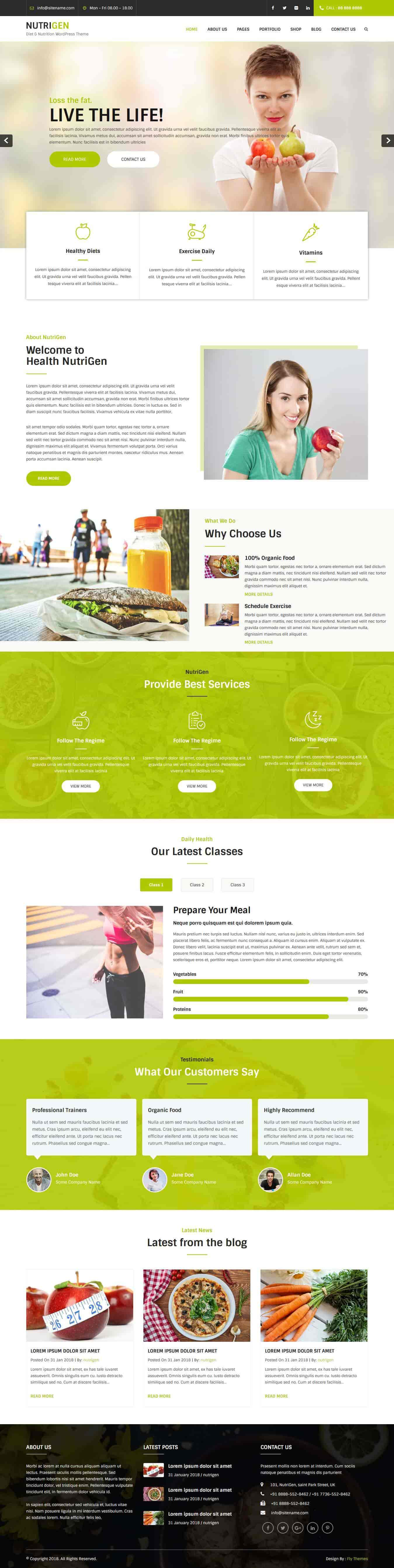 diet and nutrition WordPress theme